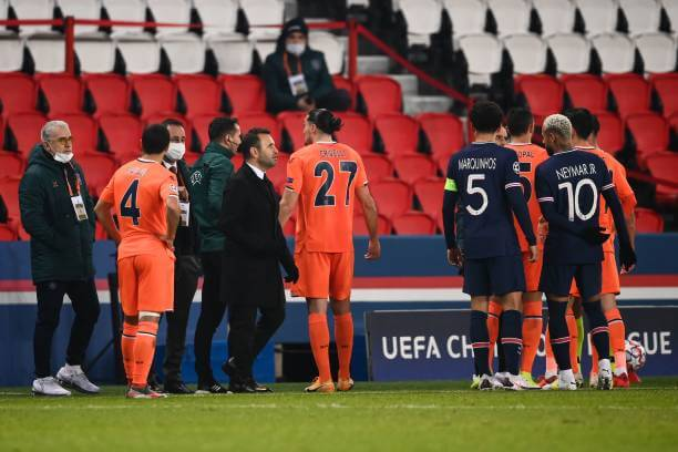 """Basaksehir and PSG players discontinues match amid """"racist"""" chant from a match official. 1 Sportelo"""