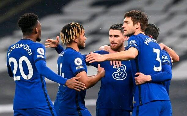 Chelsea players celebrate t