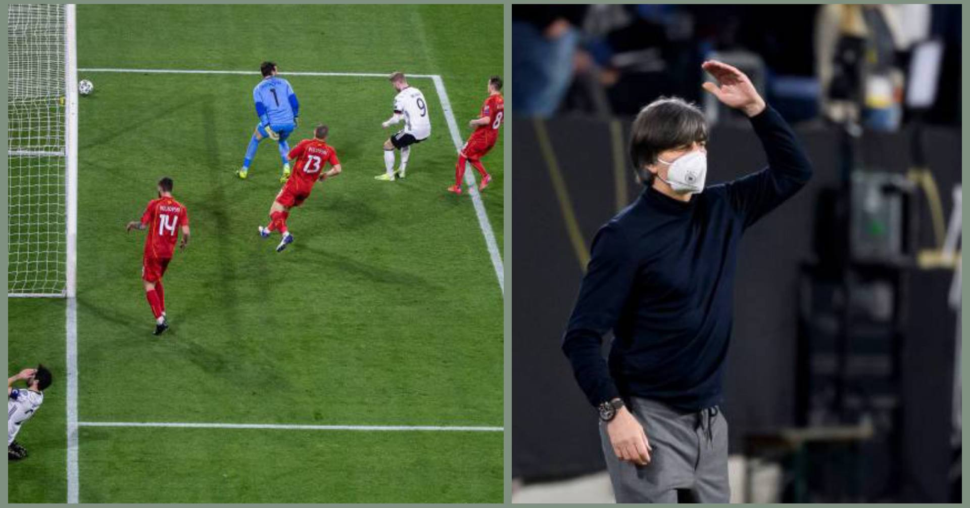 Joachim Low and Ikay Gundogan reacts as Timo Werner misses a sitter in Germany 's loss to Macedonia 1 Sportelo