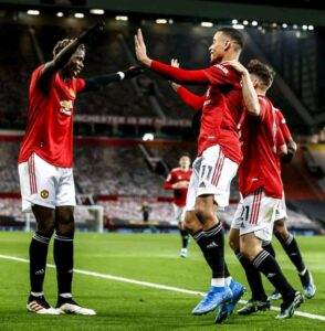 Mason Greenwood celebrating a goal (photo by Getty images)