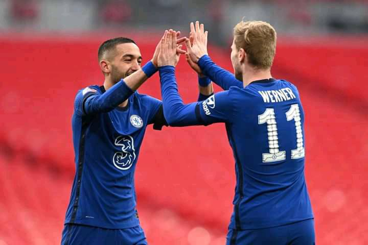 Timo Werner and Ben Chilwell reacts as Chelsea defeat Manchester City to reach the FA Cup finals 1 Sportelo